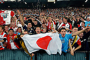 Photo: Gerrit de Heus. Rotterdam. UEFA Cup Final. Feyenoord-Borussia Dortmund. Feyenoordsupporters.