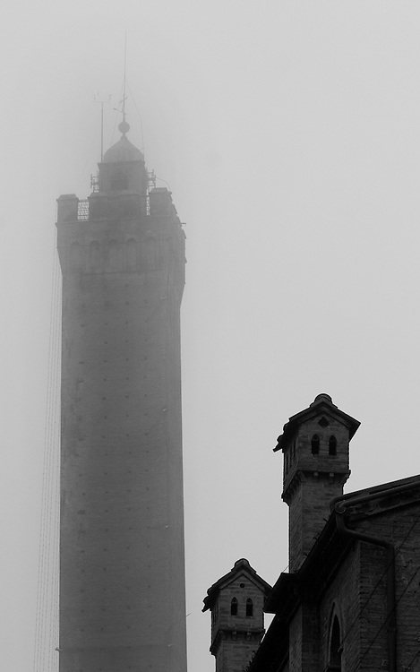 "Black and white photography.Tower in fog in Bologna Italy by Karl R Lilliendahl photographer. Available as open edition and limited edition giclee print in four sizes. Click on ""Get Print"" to see more details."