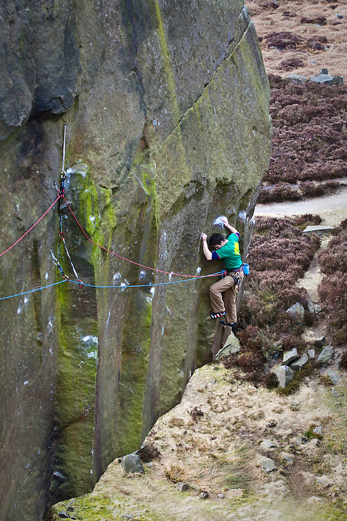 Tom Randall on the second ascent of Silent Scream at the Burbage South Quarries.