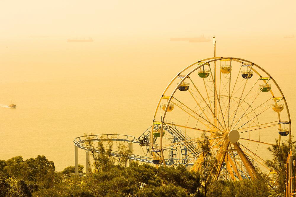 Ferris Wheel at amusement park, Ocean Park, Hong Kong, China