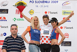 Mag. Rudolf Skobe of Planet 9 d.o.o. and Jakob Fuglsang (DEN) of Team Saxo Bank in polka dot jersey as the best cyclist in mountain classification at the flower ceremony in Novo mesto after 4th stage of Tour de Slovenie 2009 from Sentjernej to Novo mesto, 153 km, on June 21 2009, Slovenia. (Photo by Vid Ponikvar / Sportida)