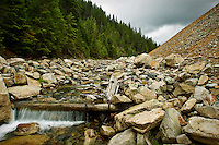 The water flowing through 9 Mile Creek at the Success Mine Site, like the restoration area of Moon Gulch Creek, has been stabilized with timbers and rock placements.