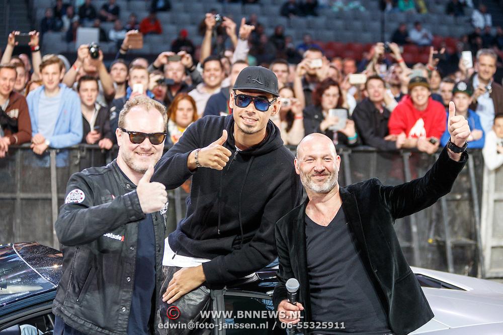 NLD/Amsterdam/20150526 - Gumball 3000 aankomst in de Amsterdam Arena, VLNR Maximillion Cooper, Afrojack en Eddy Zoey