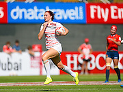 England's Joanne Watmore scores her 50th try against Spain during the Emirates Dubai rugby sevens match between England  and Spain  at the Sevens Stadium, Al Ain Road, United Arab Emirates on 1 December 2016. Photo by Ian  Muir.*** during the Emirates Dubai rugby sevens match between *** and ***  at the Sevens Stadium, Al Ain Road, United Arab Emirates on 1 December 2016. Photo by Ian  Muir.