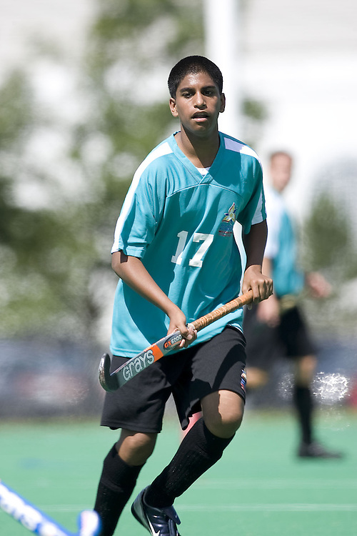 (Ottawa, Ontario---13 August 2008) The South Region (Green) plays the Central West Region (Grey) in boys field hockey at the 2008 Ontario Summer Games in Ottawa. Photo copyright Sean Burges/Mundo Sport Images. More details can be found at www.msievents.com.