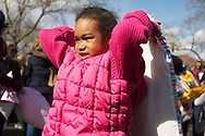 Apr, 2, 2011, Cambridge, Boston, Massachusetts, Massachusetts - A young girl prepares to swing her pillow during World Pillow Fight Day. Photo by ©Lathan Goumas.