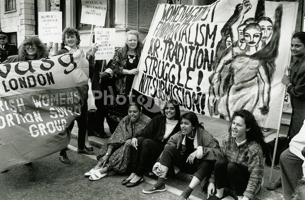 Women against Fundamentalism demo outside Irish Embassy in London in support of Irish womens right to information about abortion May 1990