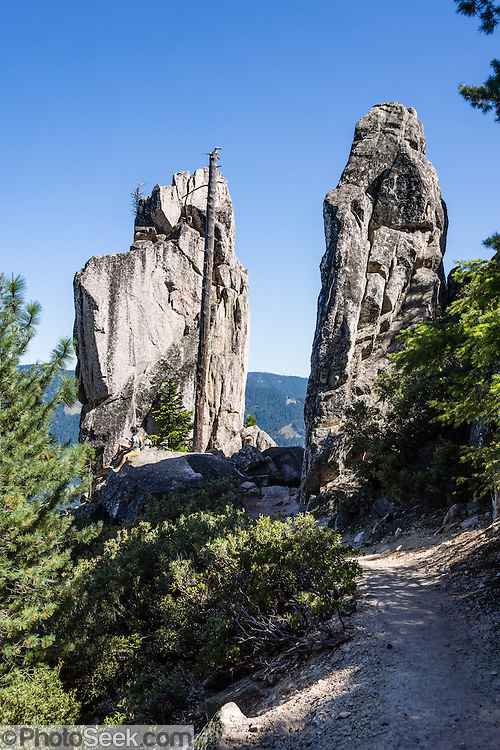 Granite pinnacles soar above Castle Dome Trail in Castle Crags State Park, just west of Interstate 5, between the towns of Castella and Dunsmuir, in California, USA. One of my favorite hikes in the state is to Castle Dome, on an excellent trail 5.8 miles round trip with 2100 feet gain. Geology: although the mountains of Northern California consist largely of volcanic and sedimentary rocks, granite plutons intruded in many areas during the Jurassic period. Heavy Pleistocene glaciation eroded much of the softer surrounding rock leaving soaring crags and spires exposed. Exfoliation of huge, convex slabs of granite made rounded towers such as the prominent Castle Dome.