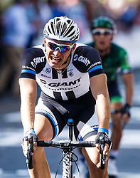 Marcel Kittel of Germany and Team Giant-Shimano looks overjoyed after he wins the sprint across the line in Harrogate to win Stage 1 of the Tour de France, with home favourite Mark Cavendishhaven taken a fall in the closing stages - Photo mandatory by-line: Rogan Thomson/JMP - 07966 386802 - 05/07/2014 - SPORT - CYCLING - Harrogate, North Yorkshire - Le Tour de France Grand Depart Stage 1, Leeds to Harrogate.