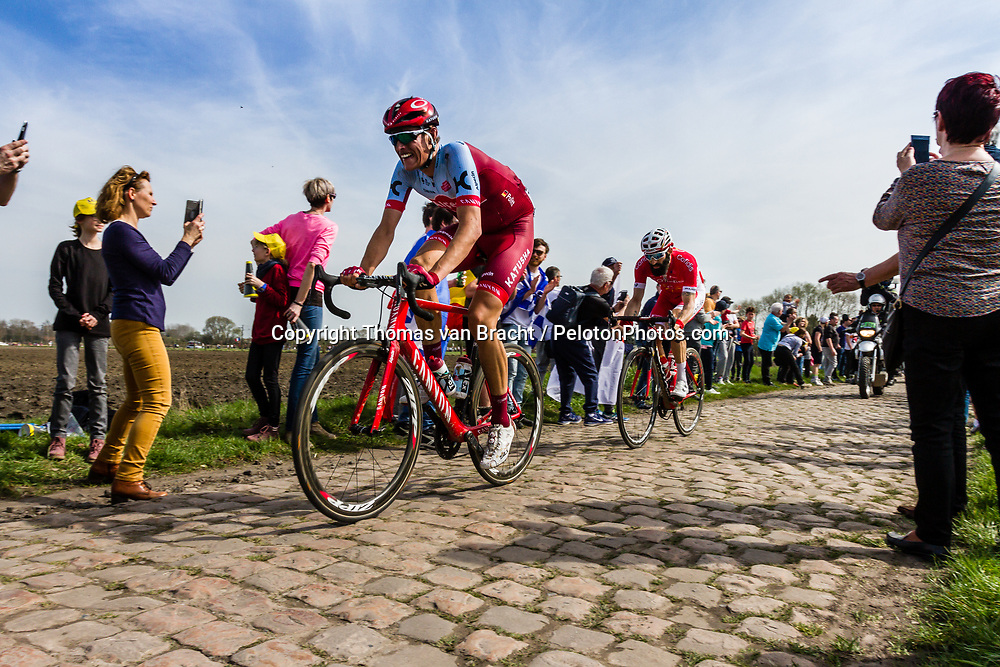 Nils POLITT from Germany of Katusha-Alpecin at the 4 star cobblestone sector 17 from Hornaing to Wandignies during the 2018 Paris-Roubaix race, France, 8 April 2018, Photo by Thomas van Bracht / PelotonPhotos.com | All photos usage must carry mandatory copyright credit (Peloton Photos | Thomas van Bracht)