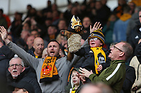 Football - 2018 / 2019 Premier League - Southampton vs. Wolverhampton Wanderers<br /> <br /> A young Wolves fan with a mask on his toy welcomes his team onto the pitch at St Mary's Stadium Southampton<br /> <br /> COLORSPORT/SHAUN BOGGUST