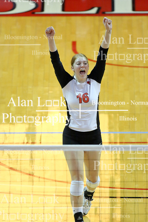 13 September 2011: Shannon McGlaughlin celebrates a point during an NCAA volleyball match between the Ramblers of Loyola and the Illinois State Redbirds at Redbird Arena in Normal Illinois.