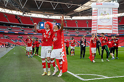 Luke Ayling and Korey Smith celebrate after Bristol City win the match 2-0 - Photo mandatory by-line: Rogan Thomson/JMP - 07966 386802 - 22/03/2015 - SPORT - FOOTBALL - London, England - Wembley Stadium - Bristol City v Walsall - Johnstone's Paint Trophy Final.