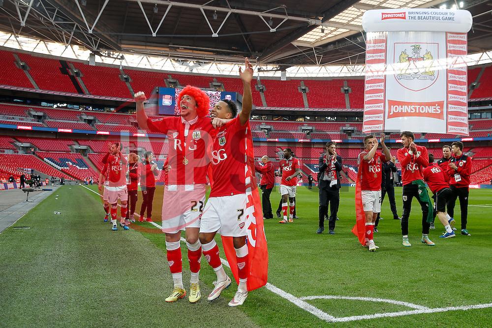 Luke Ayling and Korey Smith celebrate after Bristol City win the match 2-0 - Photo mandatory by-line: Rogan Thomson/JMP - 07966 386802 - 22/03/2015 - SPORT - FOOTBALL - London, England - Wembley Stadium - Bristol City v Walsall - Johnstone's Paint Trophy Final.