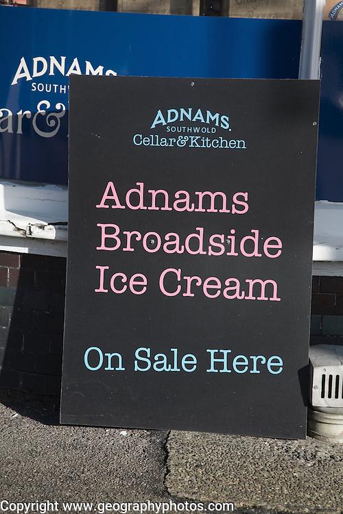 Blackboard advertising Adnams Broadside beer ice cream, Southwold, Suffolk, England