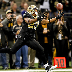 November 28, 2011; New Orleans, LA, USA; New Orleans Saints running back Pierre Thomas (23) prior to kickoff of a game against the New York Giants at the Mercedes-Benz Superdome. Mandatory Credit: Derick E. Hingle-US PRESSWIRE