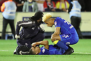 AFC Wimbledon striker Kweshi Appiah (9) down injured during the EFL Sky Bet League 1 match between AFC Wimbledon and Milton Keynes Dons at the Cherry Red Records Stadium, Kingston, England on 22 September 2017. Photo by Matthew Redman.