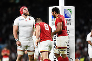 England back row James Haskell looks up in despair after Wales scrum half Gareth Davies' try during the Rugby World Cup Pool A match between England and Wales at Twickenham, Richmond, United Kingdom on 26 September 2015. Photo by David Charbit.