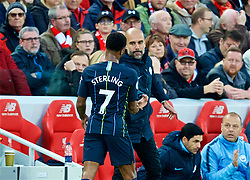 LIVERPOOL, ENGLAND - Sunday, October 7, 2018: Manchester City's Raheem Sterling walks off dejected as he is substituted by Manchester City's manager Pep Guardiola during the FA Premier League match between Liverpool FC and Manchester City FC at Anfield. (Pic by David Rawcliffe/Propaganda)