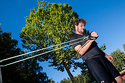 Anze Kopitar, Los Angeles Kings ice hockey player at athletics training before new NHL season 2013/14 on August 1, 2013 in Bled, Slovenia.  (Photo by Vid Ponikvar / Sportida.com)