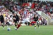 Kevin Dawson misses the penalty and reacts during the EFL Sky Bet League 2 match between Cheltenham Town and Crawley Town at LCI Rail Stadium, Cheltenham, England on 4 August 2018. Picture by Antony Thompson.