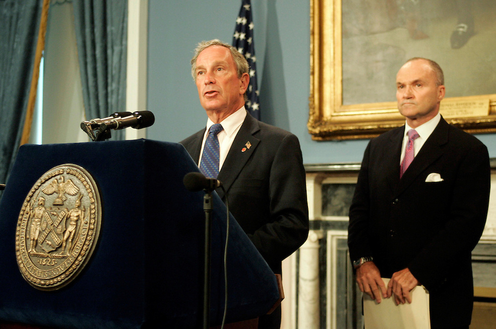 Mayor Mike Bloomberg (L) and Police Commissioner Ray Kelly at a press confrence to discuss possible al Qaeda attack against major Corporations or high-profile buildings. New York City, NY. Sunday