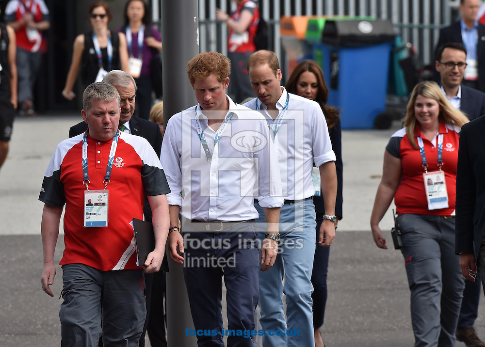 Prince Harry, (L) Prince William and Kate Middleton arrive for the boxing  at the SECC Precinct, Glasgow<br /> Picture by Alan Stanford/Focus Images Ltd +44 7915 056117<br /> 28/07/2014