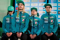 Ema Klinec, Spela Rogelj, Nika Kriznar and Katja Pozun during press conference of Slovenian Men and Woman national Ski Jumping team, on November 28, 2017 in Pivovarna Union, Ljubljana, Slovenia. Photo by Ziga Zupan / Sportida