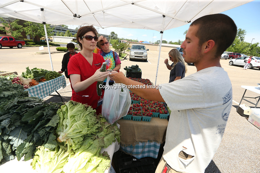 Ginger Mark is handed her vegetables from Brandon Walker at the Native Son booth during the Farmer's Depot Pop Up in Tupelo on Wednesday. The Farmer's Depot was held in the parking lot of Endocrinology Consultants on Crossover Road to promote healthy lifestyle and eating more fresh fruits and vegetables for their patients, staff, surrounding businesses and clinics.