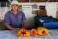 Man selling papayas in San Juan y Martinez, Pinar de Rio, Cuba.