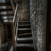 An abandoned Soviet sports hospital in East Germany with broken steps