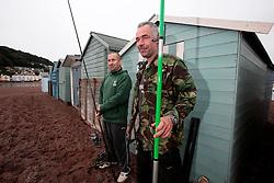 UK ENGLAND DEVON TEIGNMOUTH 10SEP16 - Anglers Pete Davey (48), a chef and carpenter Gerry Chenery (45, R) of Lapford at Teignmouth harbour, Devon, England.<br /> <br /> jre/Photo by Jiri Rezac<br /> <br /> &copy; Jiri Rezac 2016
