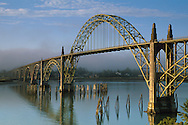 Yaquina Bay Bridge and fog in morning light (type: Arch Bridge / Suspended Deck), Newport, Central Oregon Coast