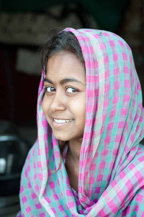 Portrait of a young Indian girl in the city of Varanasi, India.