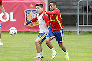 Hector Bellerin and Thiago Alcantara  during training at Aktivpark Montafon Stadion, Schruns<br /> Picture by EXPA Pictures/Focus Images Ltd 07814482222<br /> 28/05/2016<br /> ***UK &amp; IRELAND ONLY***<br /> EXPA-ESP-160530-0071.jpg