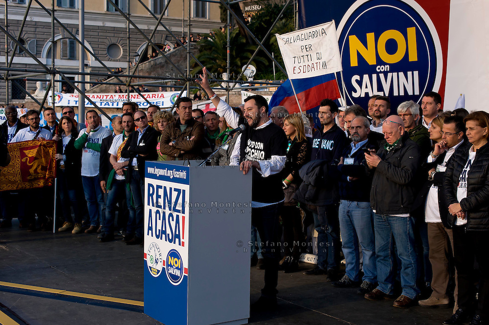 Roma 28 Febbraio 2015<br /> &quot;Renzi a casa!' - Manifestazione della Lega Nord in piazza del Popolo contro il Governo Renzi, e  contro l'Euro. Matteo Salvini<br /> Rome February 28, 2015<br /> &quot;Renzi at home! '- Demonstration of the Northern League in Piazza del Popolo against the government Renzi, and against the Euro