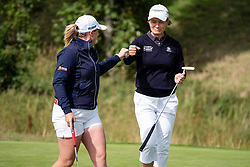Gleneagles, Scotland, UK; 8 August, 2018.  European Championships 2018. Day one of golf competition at Gleneagles..Men's and Women's Team Championships Round Robin Group Stage - 1st Round. Four Ball Match Play format. Match 13 Great Britain 2 v Sweden 1 Ladies. Catriona Matthew and Holly Clyburn won 3 and 2. Catriona Matthew (r) and Holly Clyburn celebrate going 3 Up against Sweden 1.