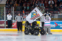 KELOWNA, CANADA - OCTOBER 23: Rocky Racoon, the mascot of the Kelowna Rockets stands on the ice against the Prince George Cougars on October 23, 2015 at Prospera Place in Kelowna, British Columbia, Canada.  (Photo by Marissa Baecker/Shoot the Breeze)  *** Local Caption *** Rocky Racoon;