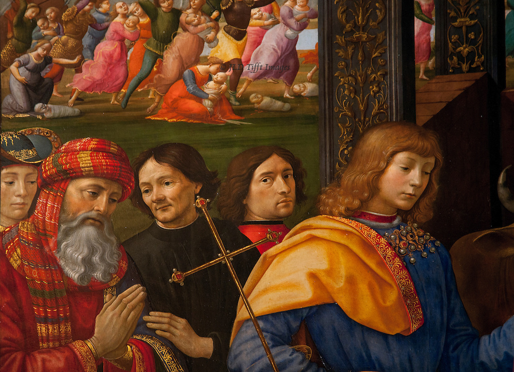 "Closeups of faces in the crowd in Ghirlandaio's Adoration of the Magi.  His style has stronger lines and more insistent detail than we have seen before.  Many are probably portraits of specific individuals.  As my friend Patsy said, ""they're so gossipy!"""