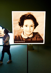 Photograph of young Jewish girl at Judisches or Jewish Museum in Kreuzberg central Berlin Germany
