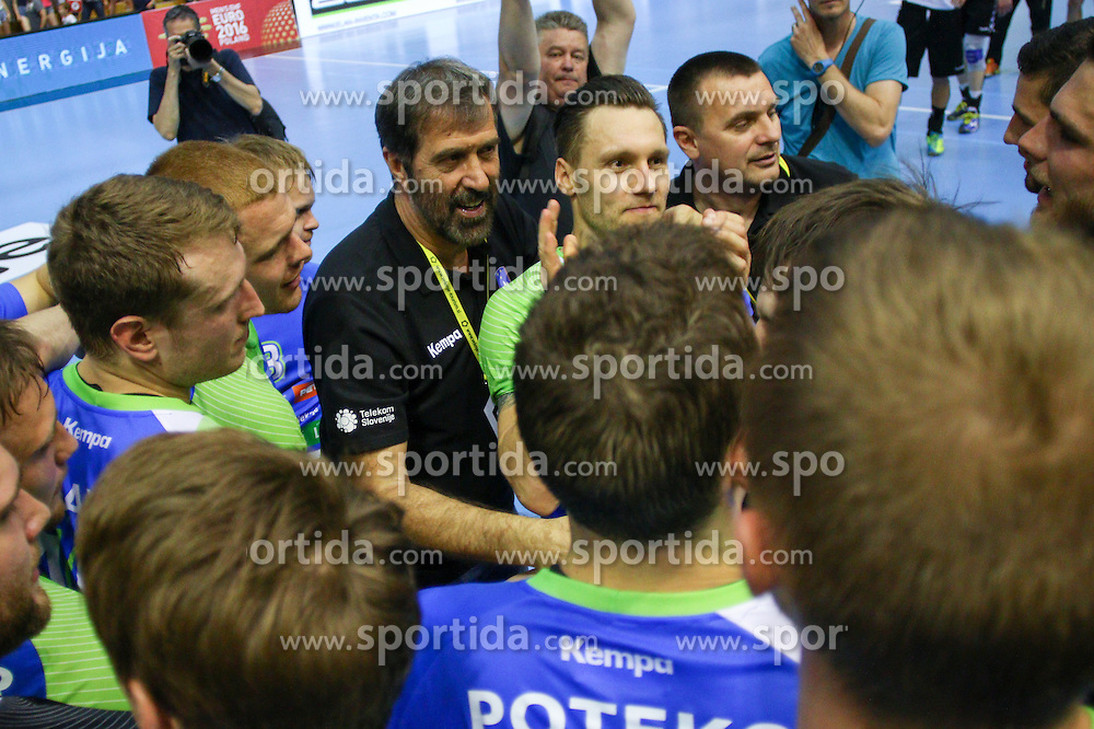 Veselin Vujovic, head coach of Slovenia, during handball match between National Teams of Slovenia and Latvia in Qualification of 2016 Men's European Championship, on June 13th, in Rdeca Dvorana, Velenje. Photo by Morgan Kristan / Sportida