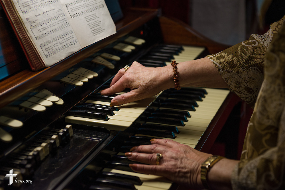 A musician performs during a Lenten service at Lutheran Good Shepherd Home in Concordia, Mo., on Thursday, April 10, 2014. LCMS Communications/Erik M. Lunsford
