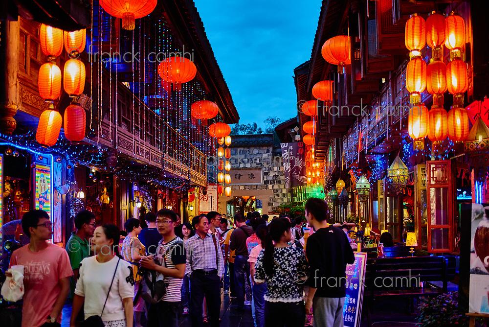 Chengdu, China - September 18, 2014: tourists people walking at Jinli Pedestrian Street in Chengdu Sichuan China