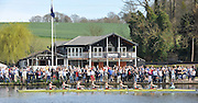 Henley, GREAT BRITAIN,  CUWBC, Cambridge women's blue boat passes Upper Thames RC on it way to victory in the 2012 Women's Boat Race as art of the Henley Boat Races, Raced on Henley Reach, Henley on Thames, England, Sunday  25/03/2012. [Mandatory Credit, Peter Spurrier/Intersport-images
