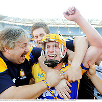 13 Septermber 2009; John Conlon, Clare, celebrates with supporters after his side's victory. Bord Gais Energy GAA All-Ireland U21 Hurling Championship Final, Clare v Kilkenny, Croke Park, Dublin. Picture credit: Stephen McCarthy / SPORTSFILE