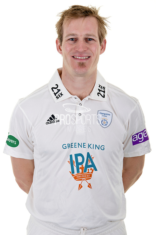 Jimmy Adams of Hampshire in Specsavers County Championship kit  during the Hampshire County Cricket Club Media Day at the Ageas Bowl, Southampton, United Kingdom on 10 April 2018. Picture by Dave Vokes.