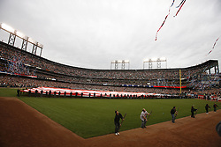 October 27, 2010; San Francisco, CA, USA;  General view of AT&T Park during the national anthem before game one of the 2010 World Series between the San Francisco Giants and the Texas Rangers.