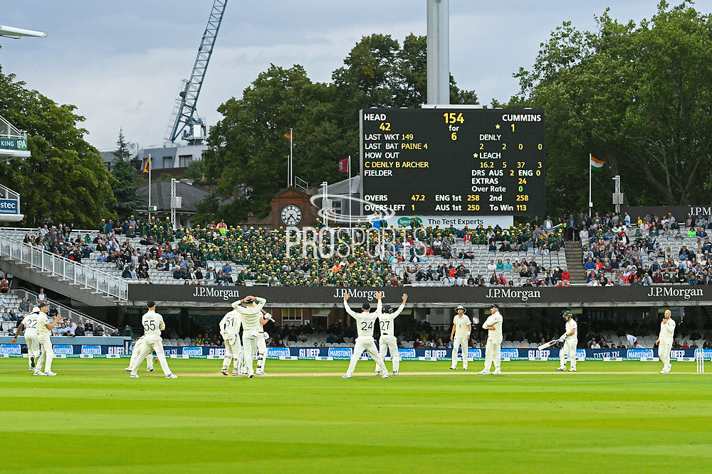In the final over all the England players surround batsman Pat Cummins of Australia as Jack Leach of England bowls during the International Test Match 2019 match between England and Australia at Lord's Cricket Ground, St John's Wood, United Kingdom on 18 August 2019.