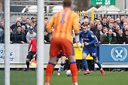 AFC Wimbledon striker Joe Pigott (39) dribbling towards goal during the EFL Sky Bet League 1 match between AFC Wimbledon and Gillingham at the Cherry Red Records Stadium, Kingston, England on 23 March 2019.