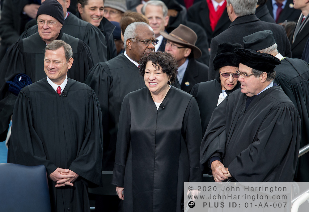 Chief Justice John Roberts with Justices Clarence Thomas, Sonya Sotamayor, Ruth Bader Ginsburg and Antonin Scalia at the 57th Presidential Inauguration of President Barack Obama at the U.S. Capitol Building in Washington, DC January 21, 2013.